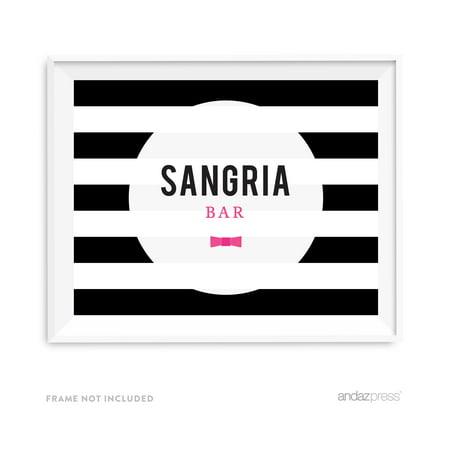 Sangria Bar Modern Black and White Stripes Wedding Party Signs (Halloween Sangria White)