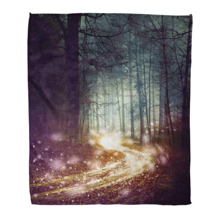 Woodland Faries (KDAGR Throw Blanket Warm Cozy Print Flannel Fantasy Forest Firefly Lights Magic Colored Woodland Fairy Tale Dreamy Foggy Comfortable Soft for Bed Sofa and Couch 50x60)