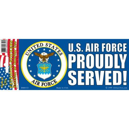 U.S. Air Force Proudly Served Bumper Sticker