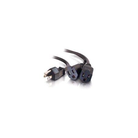 C2G 18in 16 AWG 1-to-2 Power Cord Splitter (1 NEMA 5-15P to 2 NEMA 5-15R) - power splitter - 1.2 ft