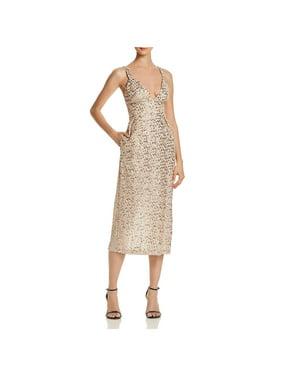 JILL Jill Stuart Womens Metallic Sequined Midi Dress