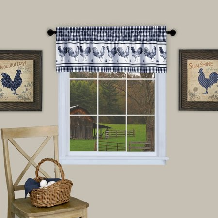 Sweet Home Collection Barnyard Buffalo Check Rooster Window Valance (Navy)