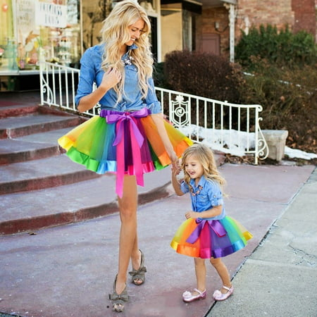 Plus Size Tutu Skirt (Mother and Daughter Clothes Women Girls Rainbow Party Costume Ballet Tutu)
