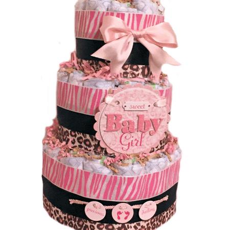 Pink & Brown Cheetah Theme Baby Girl 3 Tier Diaper Cake
