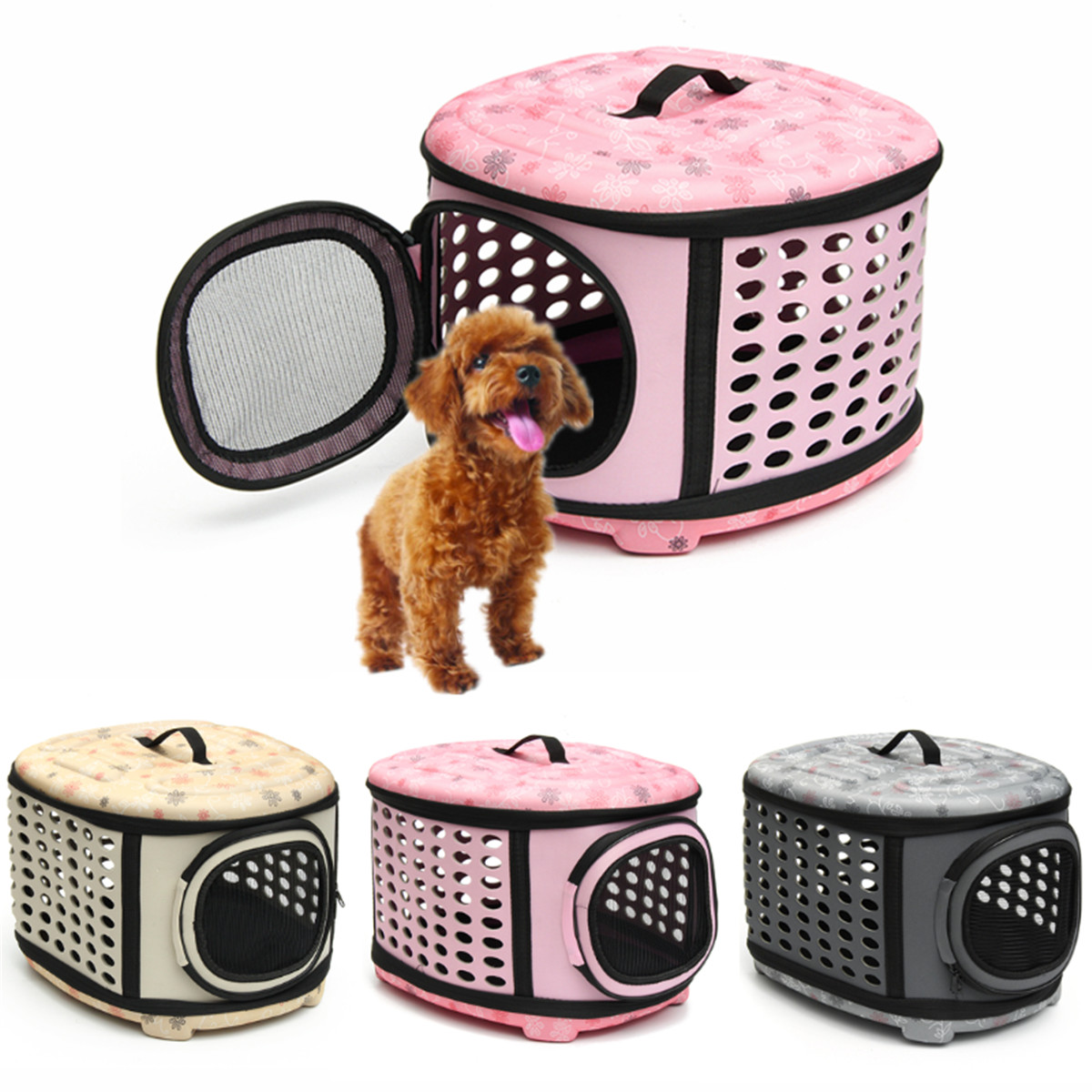 Pet Dog Cat Puppy Mesh Cage Travel Tote Carrier Bag Sling Backpack For Hiking Travel Outdoor Size:M