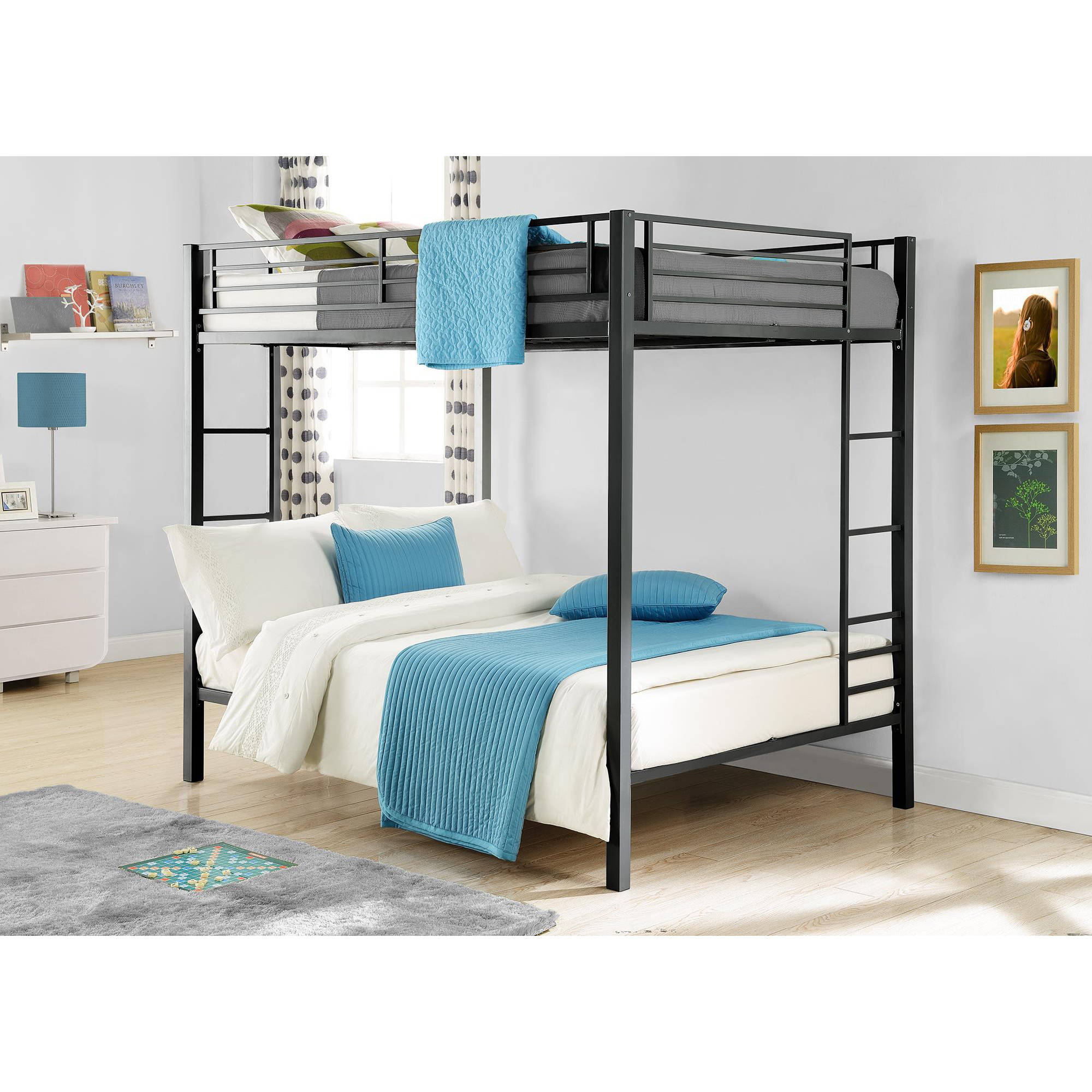 Dorel Full-Over-Full Metal Bunk Bed, Multiple Finishes