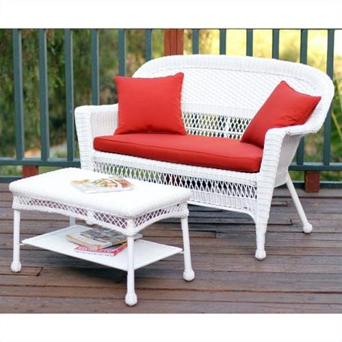 Jeco Wicker Patio Love Seat and Coffee Table Set in White with Red Orange Cushion