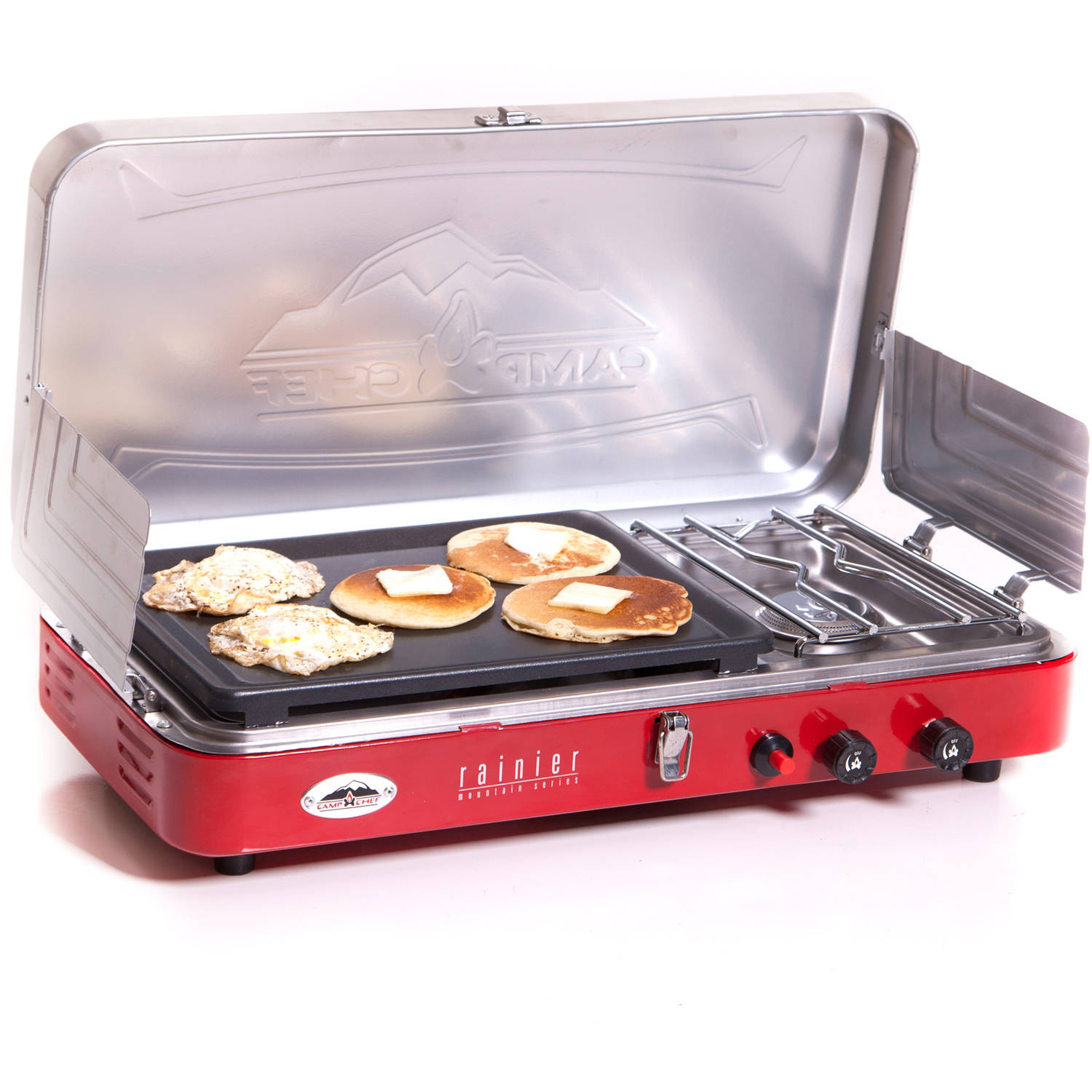 Camp Chef Rainier 2-Burner Stove with Griddle, Red, Red