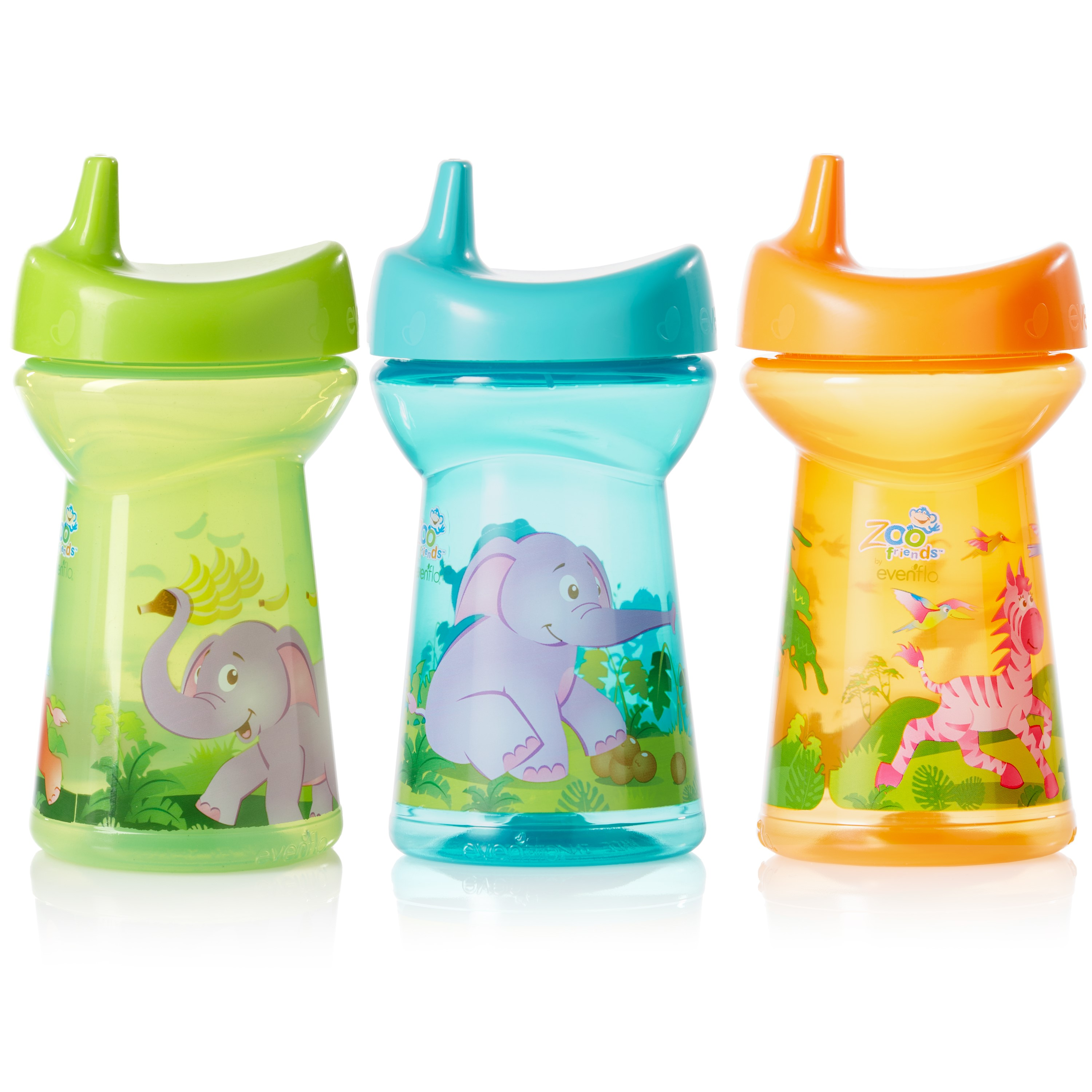 Evenflo Feeding Zoo Friends Tripleflo Hard Spout Sippy Cup � with 1-Piece Silicone Valve 10oz, Assortment, 3ct by Evenflo Feeding