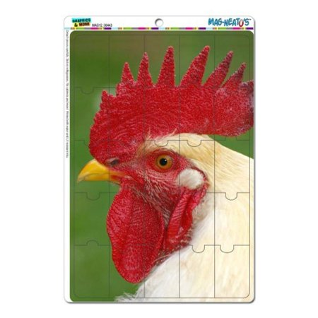 Graphics and More White Rooster Chicken Mag-Neato's Novelty Gift Locker Refrigerator Vinyl Puzzle Magnet Set](Chicken Novelties)