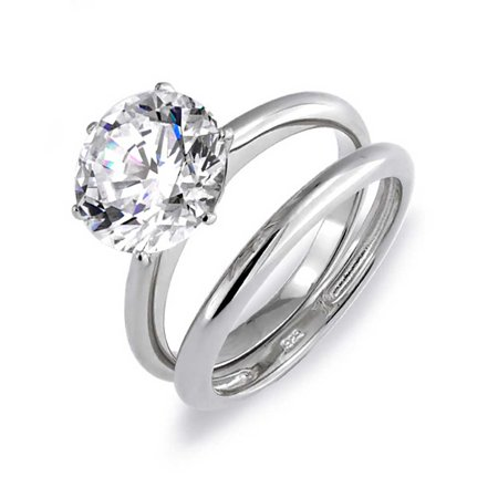 Round 3 5ct Cz Solitaire Engagement Wedding Ring Set Silver