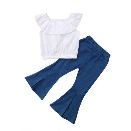 Flared Pants Outfits Kids Baby Girls Tops Vest Dress+Loose Leggings Clothes - image 1 de 5