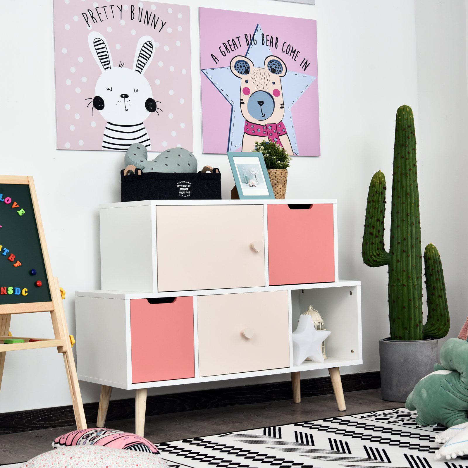 Kids Cabinet Bedroom Storage Organization Unit Bedroom Pink