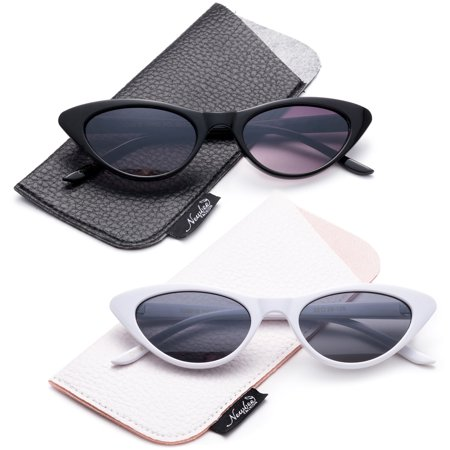 Designer Inspired Retro Vintage Narrow Cat Eye Sunglasses for Women Small Plastic
