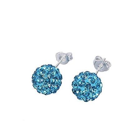 Surgical Stainless Steel Pave Crystal Disco Ball Shambala Studs Earrings Girls- Women Cubic Zirconia Hypoallergenic Earrings WITH A FREE GIFT CLEAR Pave Crystal Disco Ball Shambala (Light Blue)