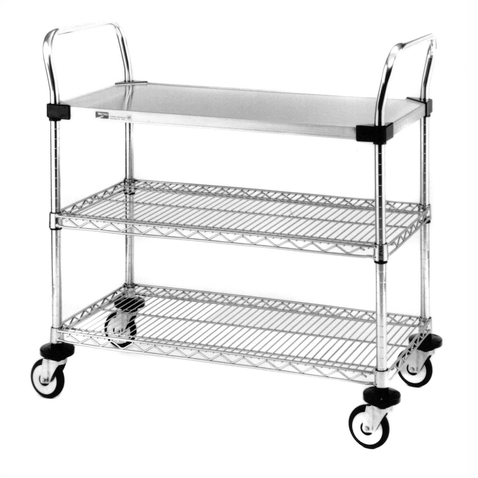 Cart-1 Stainless Shelve 2 Chrome Shelf Serving Cart by InterMetro Industries Corp