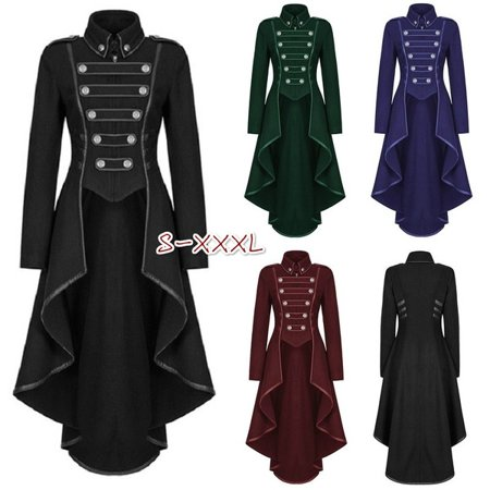 Steampunk Womens Military Coat Vintage Gothic Victorian Army Uniform Jacket Army Combat Uniform Coat
