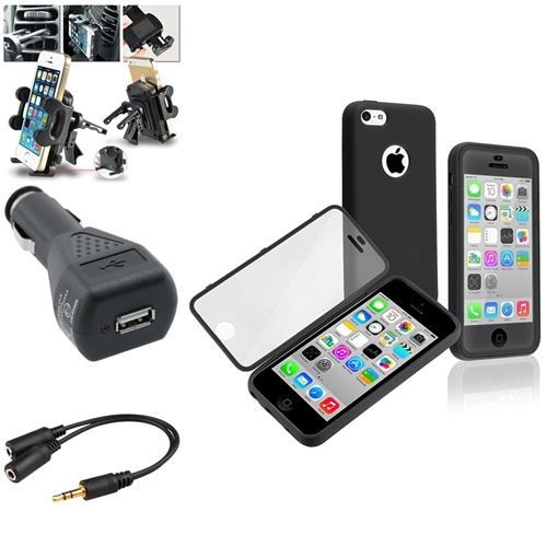 Insten Black Book Style Rubber Case with Frosted Cover+Vent Mount+BLK Charger+Splitter For iPhone 5C