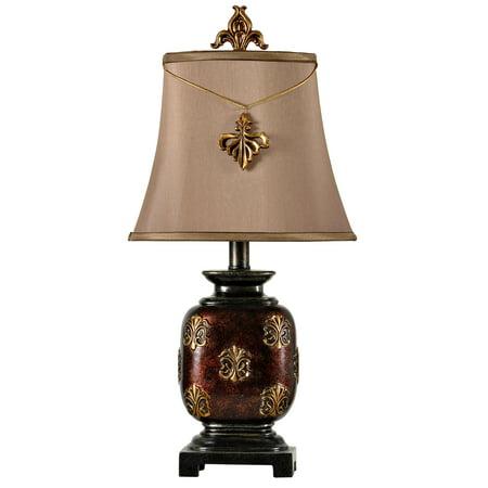 Maximus Mini Accent Table Lamp With Fleur De Lis Pendant - Bronze Finish - Beige Fabric Shade