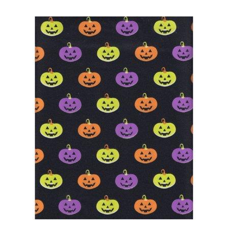 Halloween Vinyl Tablecloth PEVA, Neon Pumpkins Pattern, Environmentally Friendly, Flannel Backed, 52 x 70 Rectangle