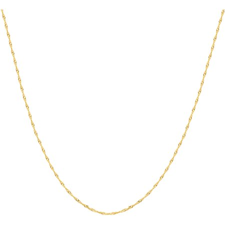 Bulldog Pendant 10kt Gold Jewelry (Women's 10kt Yellow Gold Singapore Chain, 22