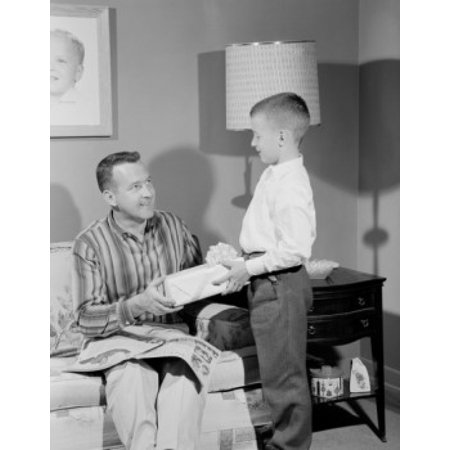 Boy Giving Gift To Father Poster Print