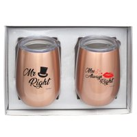 "Vastigo 9 Oz. Stemless Wine Tumbler Gift Set""Mr. Right"" and""Mrs. Always Right"" - Rose Gold"