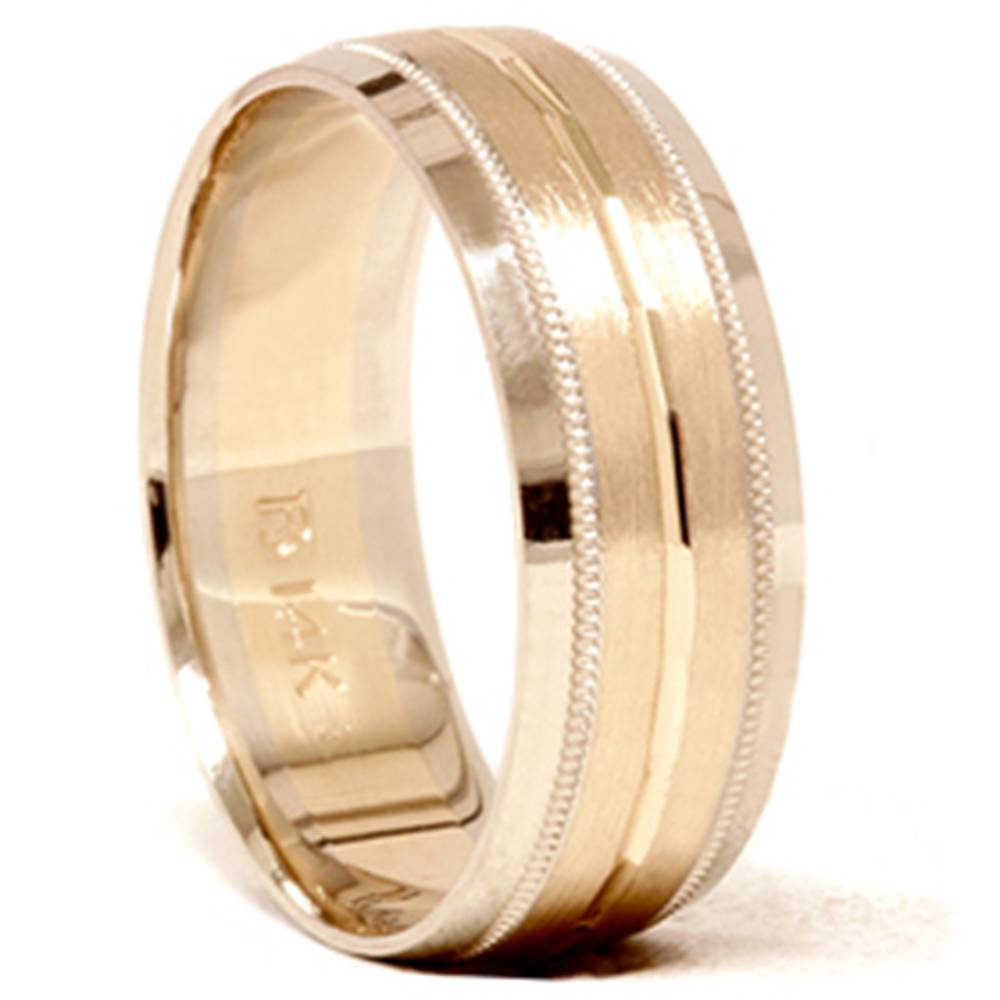 This is an image of Mens 40K Gold 40mm Comfort Fit Two Tone Wedding Band