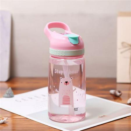 Fancyleo 450ml Baby Kids Children School Feeding Drinking Cup Water Bottle Straw Bottle Sippy Suction Cup Water Milk Juice Cup ()