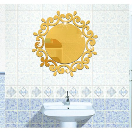 Costyle 3D Mirror Wall Stickers Toilet Porch Washing Room Decor ()