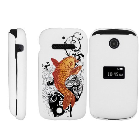 - ZTE Cymbal Z320 Matte White 2 Piece Snap Shell Case with Unique Printed Designs -  Koi Fish
