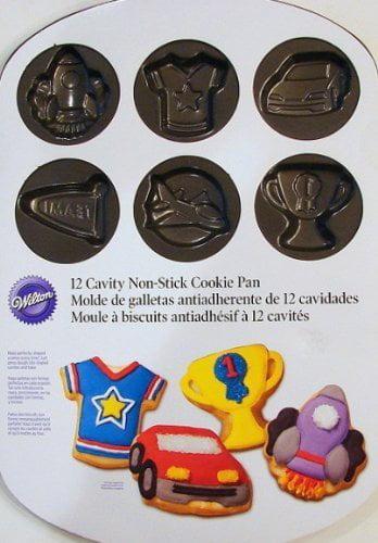 12 Cavity Non-stick Cookie Pan Boy's Theme -T S-shirt-trophy, Rocket-race Car-, By Wilton by
