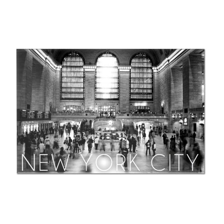New York City, New York - Black & White Grand Central Station - Lantern Press Photography (12x8 Acrylic Wall Art Gallery Quality)