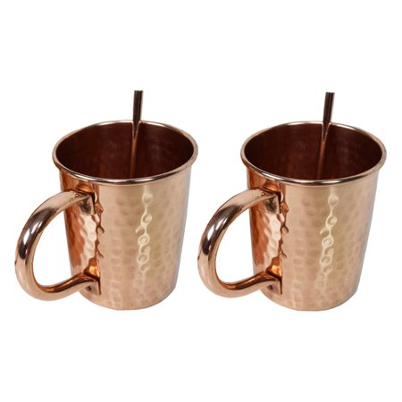 Oakland Living Hammered Straight 16 oz. Copper Moscow Mule Cup - Set of 2