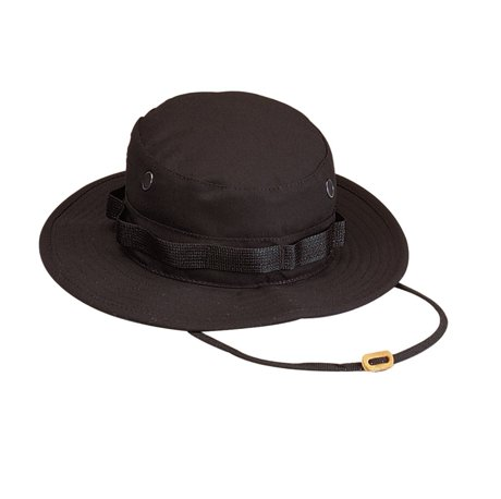 Rothco 100 cotton rip stop boonie hat black 7 3 4 for Fishing hats walmart