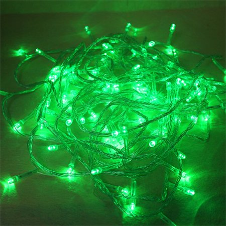 Perfect Holiday 8 Modes 100 Led String Christmas Wedding Fairy Lights Party With Tail Plug  32 Feet  Green