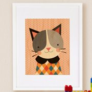 Petit Collage Hip Cat, Small Framed Art