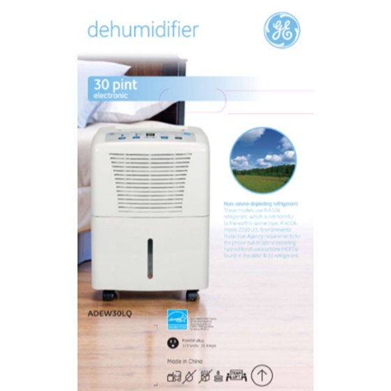 GE 30-Pint Dehumidifier for Basements w/Drain, White, ADEW30LQ