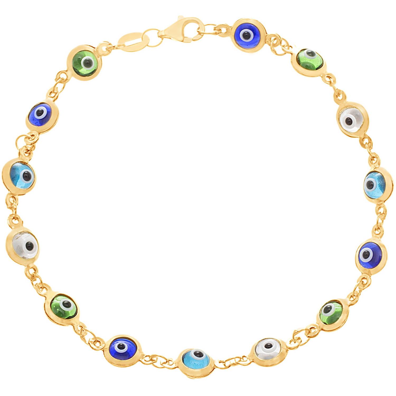 Angelique Silver 18kt Gold over Sterling Silver 5mm Blue and Green Evil Eye Bracelet