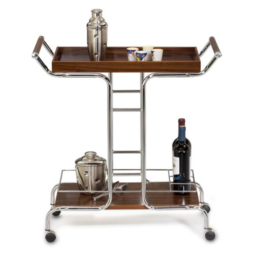 Cappuccino and Chrome Wine Serving Cart