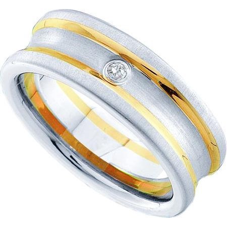 10K Yellow Gold 0.03ctw Fancy Forever Flush Diamond Concave Fusion Band Ring