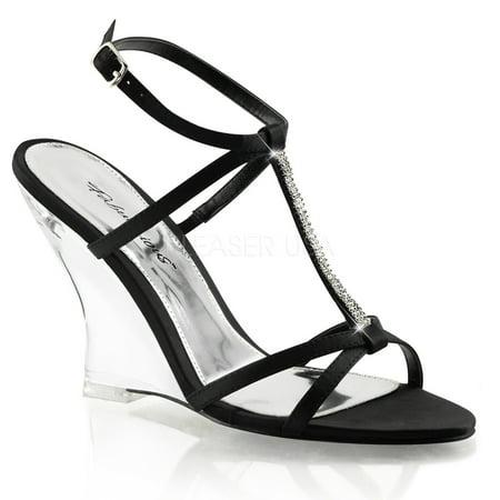 LOVELY-428, 4 Inch T-Strap Sling Back Wedge Sandal