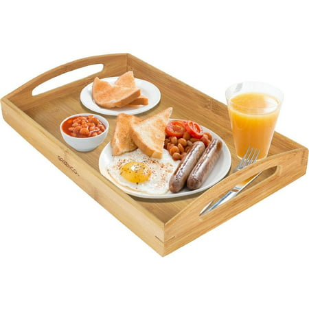Greenco Bamboo Butler Serving Tray With Handles (Erving Tray)