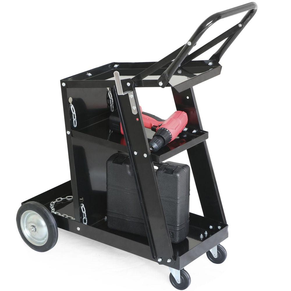 Zimtown Universal Welding Cart, 3 Shelves Plasma Cutter Welding Trolley Tank with Wheels, for Mig / Tig / ARC Welder Storage