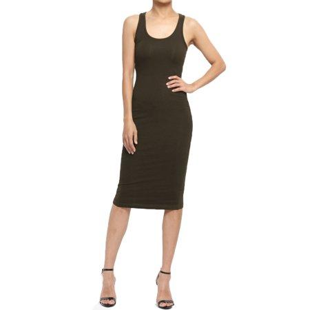 Scoop Neck Sleeveless Dress - TheMogan Junior's PLUS Sleeveless Racerback Scoop Neck Stretch Tank Midi Dress