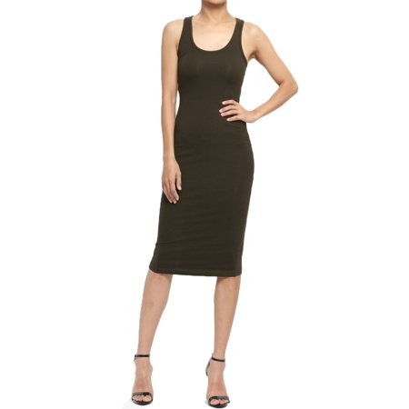 Juniors Black Dress (TheMogan Junior's PLUS Sleeveless Racerback Scoop Neck Stretch Tank Midi)