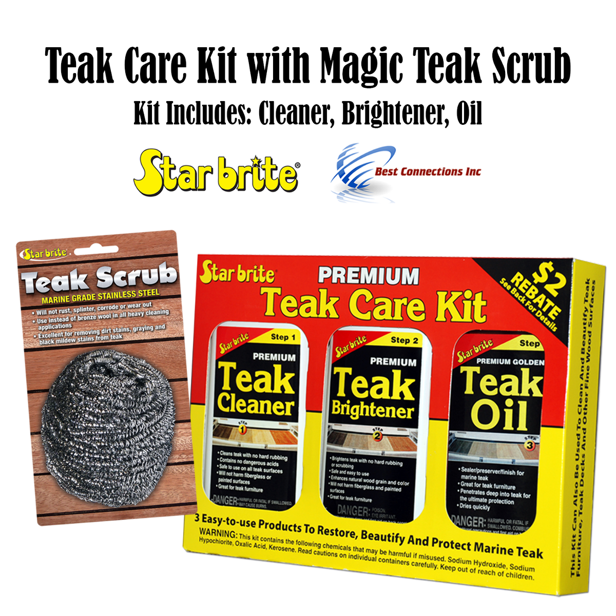 Starbrite Teak Care Kit w/ Magic Teak Scrub BUNDLE Marine Home Heavy Cleaning