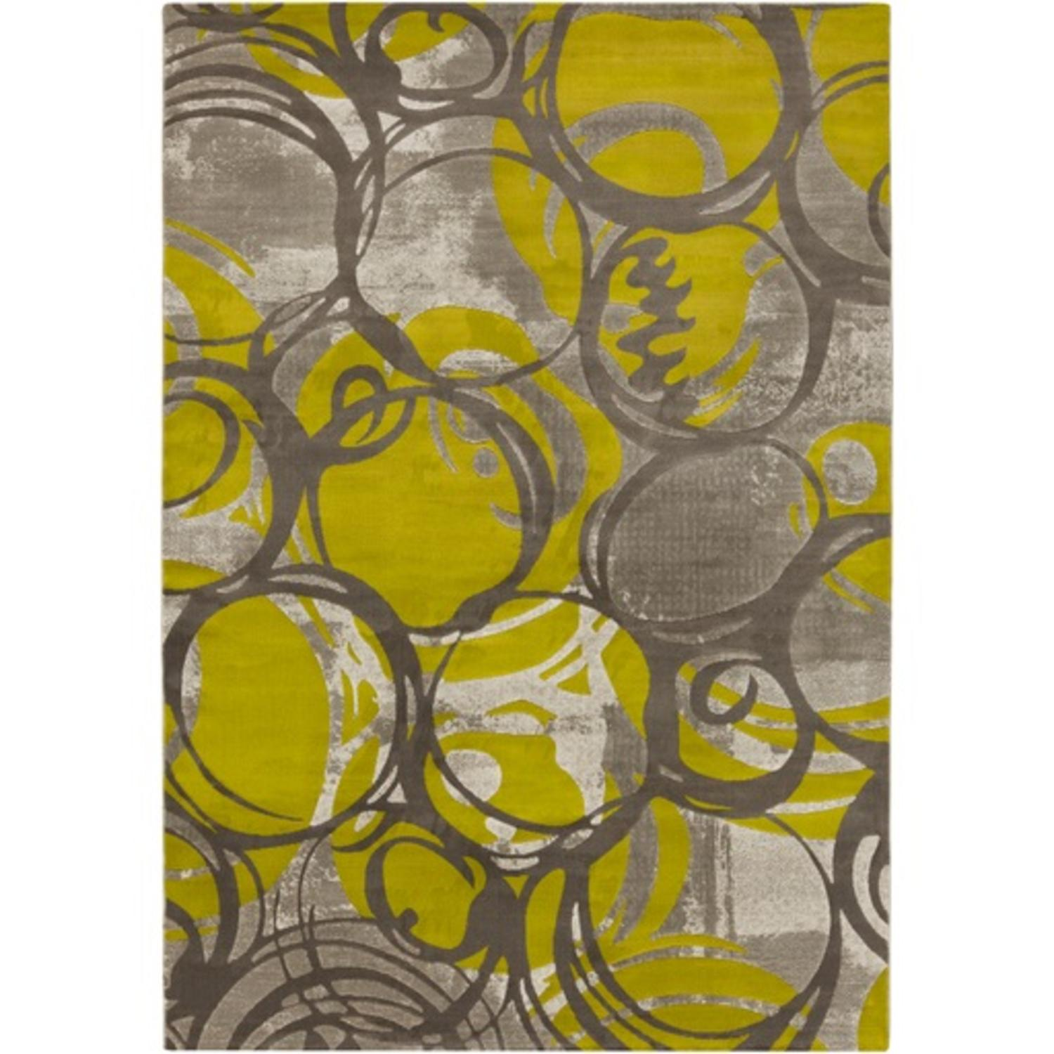 7.5' x 10.5' Neoteric Swirled Charcoal Gray and Pear Green Area Throw Rug