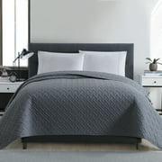 Mainstays Emma Solid Basketweave Textured Microfiber Quilt Coverlet, King, Grey