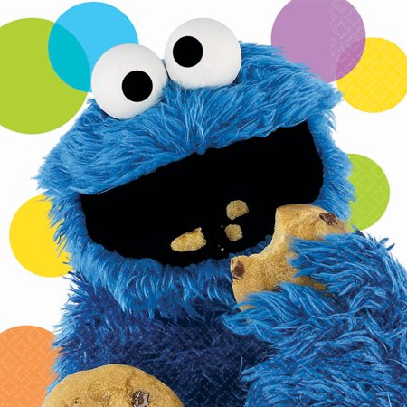 Sesame Street Party Cookie Monster Lunch Napkins, 16pk
